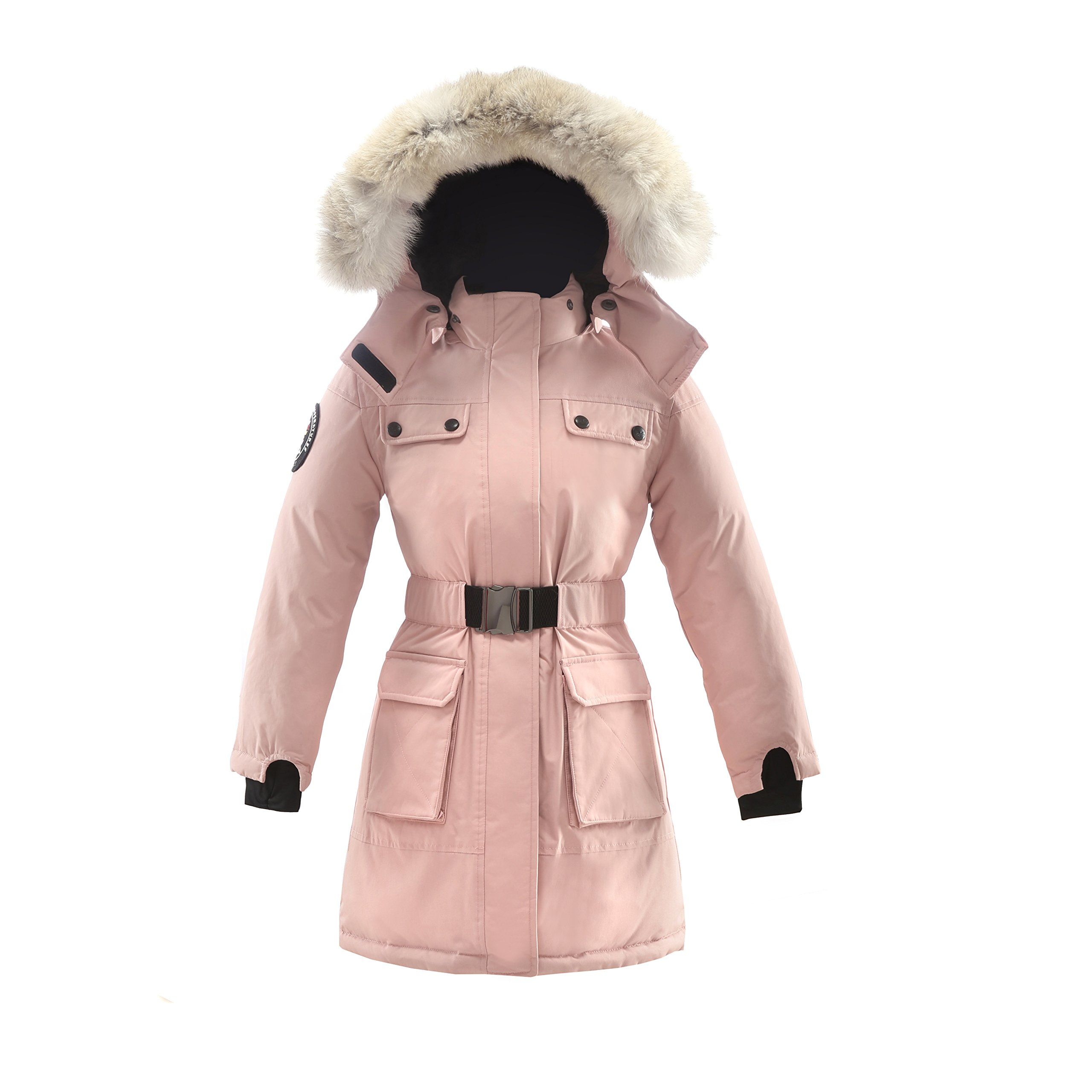 Triple F.A.T. Goose Arkona Girls Down Jacket Parka with Real Coyote Fur (12, Pink) by Triple F.A.T. Goose