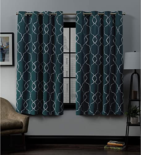 Exclusive Home Curtains Belmont Embroidered Woven Blackout Grommet Top Curtain Panel Pair