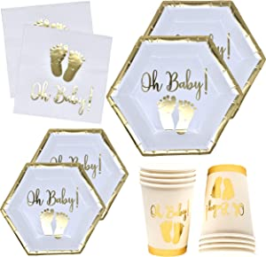 "Oh Baby Shower Party Supplies Tableware Set with Gold Foil Footprint Includes 24 9"" Plates 24 7"" Plate 24 9 Oz Cups and 50 Lunch Napkins Disposable Paper Goods for Boy Girl Neutral Gender Reveal Decor"