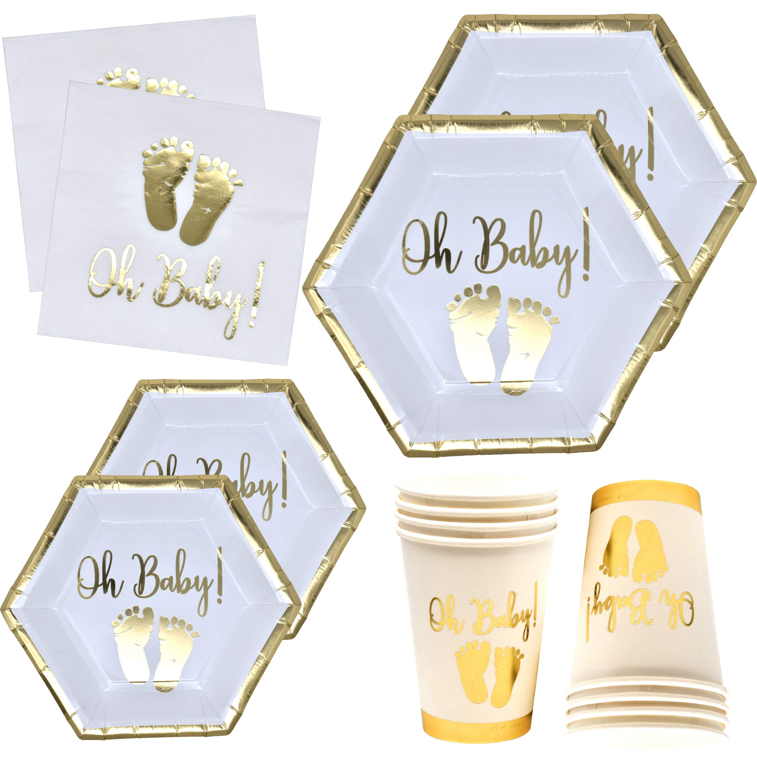 Oh Baby Shower Party Supplies Tableware Set with Gold Foil Footprint Includes 24 9'' Plates 24 7'' Plate 24 9 Oz Cups and 50 Lunch Napkins Disposable Paper Goods for Boy Girl Neutral Gender Reveal Decor by Gift Boutique