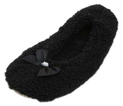13ef7be19 Ladies Fleece Ballerina Slippers With Bow: Amazon.co.uk: Shoes & Bags