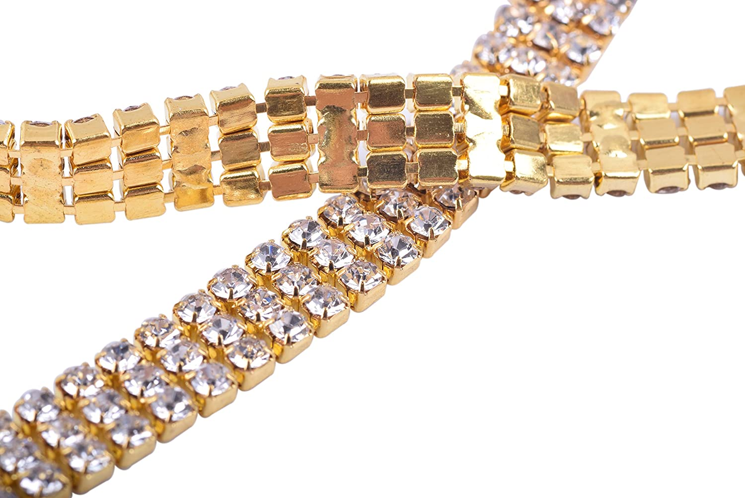 KAOYOO 2 Rows 2 Yards Crystal Rhinestone Close Chain Trim,SS08//2.5mm//0.1,Golden Chain with Clear Crystal Beads
