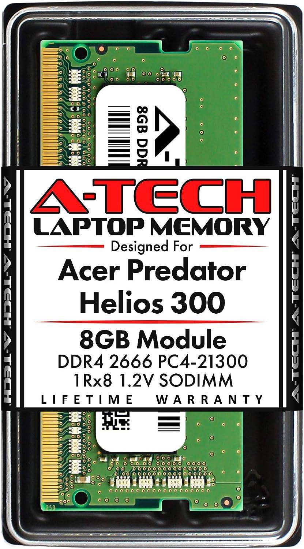 A-Tech 8GB RAM for Acer Predator Helios 300 Gaming Laptop | DDR4 2666 PC4-21300 SODIMM 1Rx8 1.2V 260 Pin Non-ECC Unbuffered Memory Upgrade Module