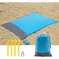 Hertekdo Beach Blanket, Compact Pocket Blanket Sand Free Waterproof Ground Cover with Storage Bag Great for Beaches, Picnics, Travel, Hiking, Festival, and Outings - Four Stakes Gifted