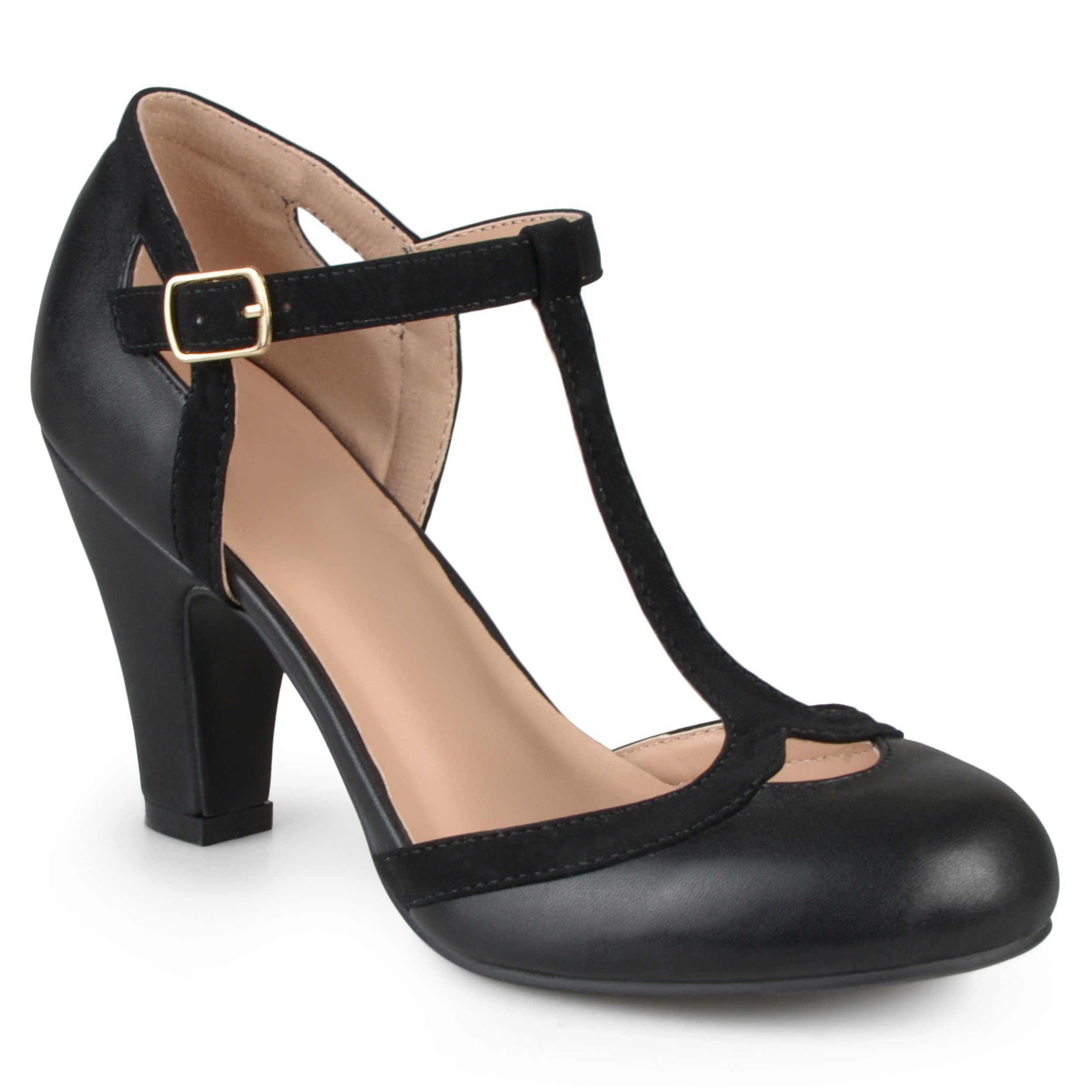 Journee Collection Womens T-Strap Round Toe Mary Jane Pumps Black, 8.5 Wide Width US