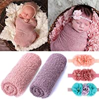 2 Pieces Newborn Baby Photography Props Long Ripple Stretch Wrap DIY Girl Boy Photo Props Blanket with Headbands (Antique Pink + Dark Purple)