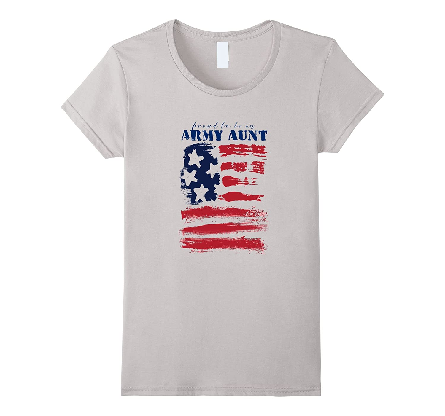 Proud Army Aunt Abstract Stars Stripes American Flag T-Shirt