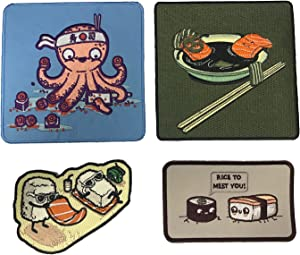 Hat Shark Beach Sushi, Salmon Spa, Octosushi, Rice to Meet You Funny Food Set of 4 Parody Iron On Patch Applique