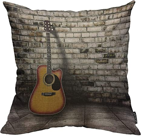 Amazon Com Mugod Guitar Throw Pillow Cover Guitar In Blank Empty Room With Old Brick Wall Background Decorative Square Pillow Case For Home Bedroom Living Room Cushion Cover 18x18 Inch Home Kitchen