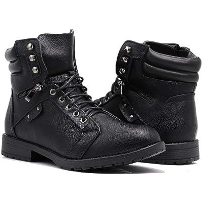 Enzo Romeo SH04 Mens Military Combat Mid Calf High Lace Up Zipper Fur Lining Winter Snow Boots (9, Black (03)) | Snow Boots