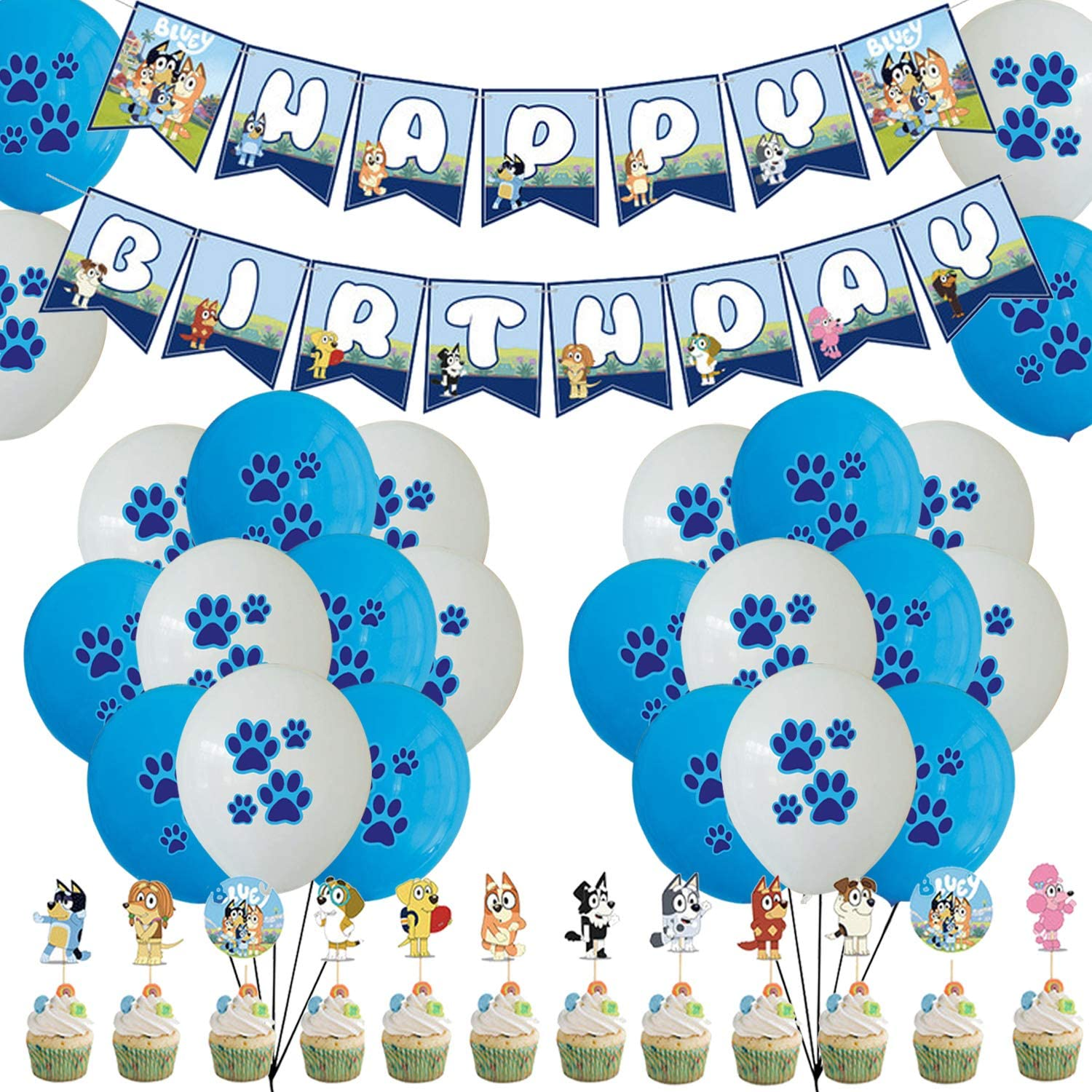 Cake Topper Balloons Banner Bluey Party Supply Decoration 26 Pieces