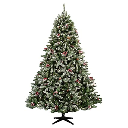 Flocked Hawthorne Prelit Christmas Tree Artificial Flocked Christmas Tree Full 7 5 Christmas Tree 1100 Warm White Led Lights