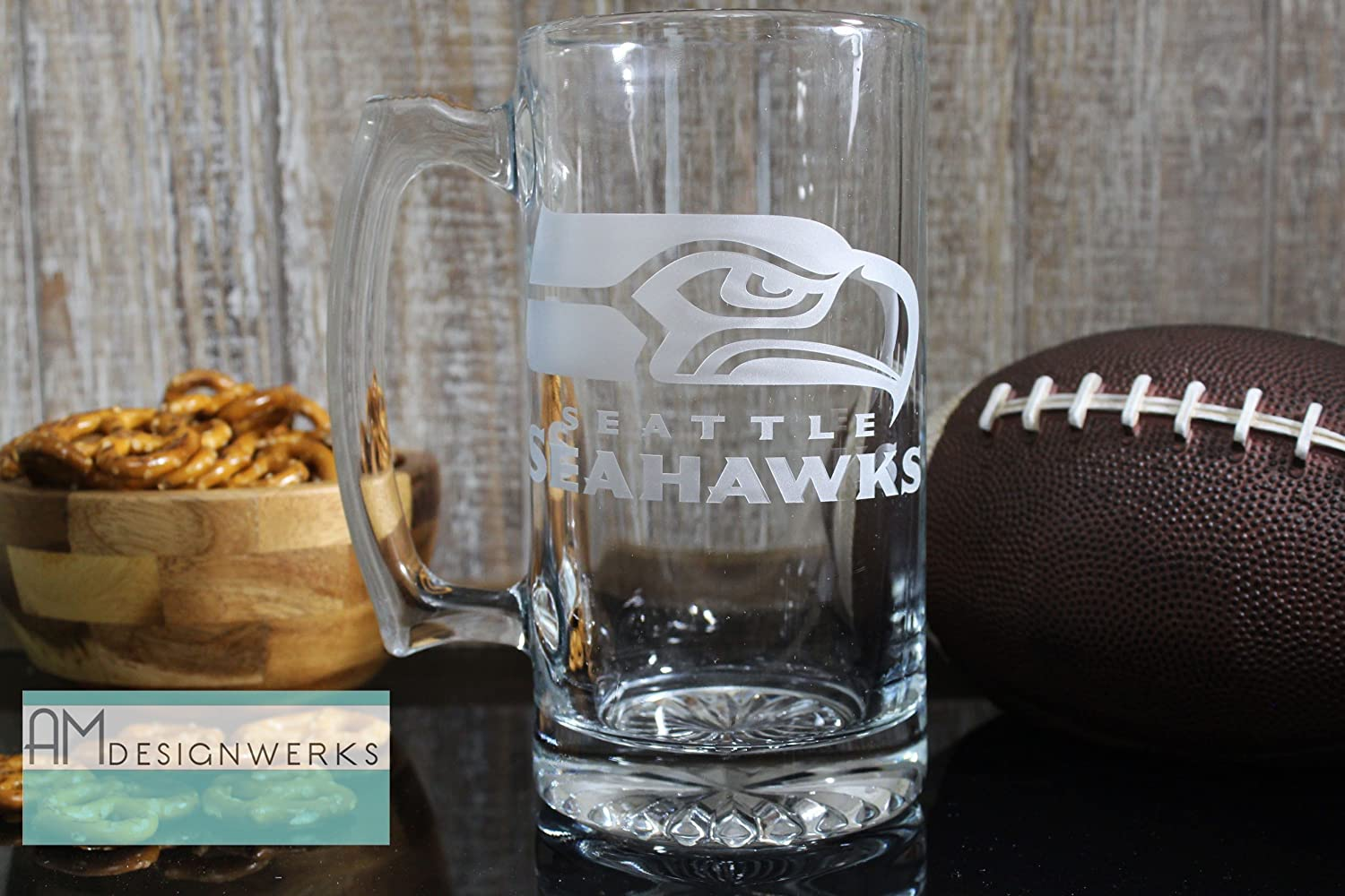 Seattle Seahawks Jumbo 28.5oz Hand Etched Glass Beer Mug