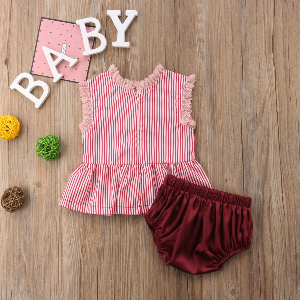 Andannby Toddler Baby Girls Sleeveless Stripe Lace Ruffle Tops+Blommer Shorts 2pcs Outfits