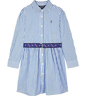 6586e8da592b Amazon.com  Ralph Lauren Polo Girls Striped Belted Shirtdress Dress ...