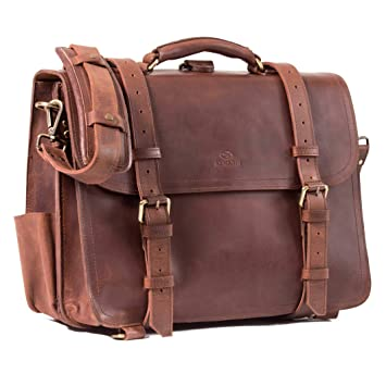 c229c0b439 ALMADIH Genuine Leather *WALKER* Briefcase & Backpack brown vintage  Handmade Messenger Satchel Business Work