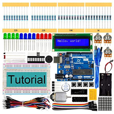 Freenove Super Starter Kit with UNO R3 (Arduino-Compatible), 139 Pages  Detailed Tutorial, 157 Items, 25 Projects, Solderless Breadboard