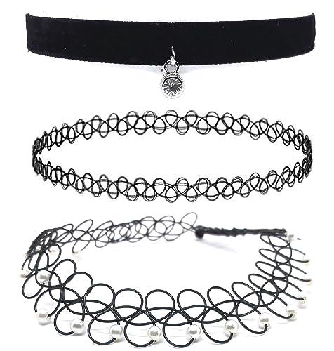 collier ras de cou noir elastique