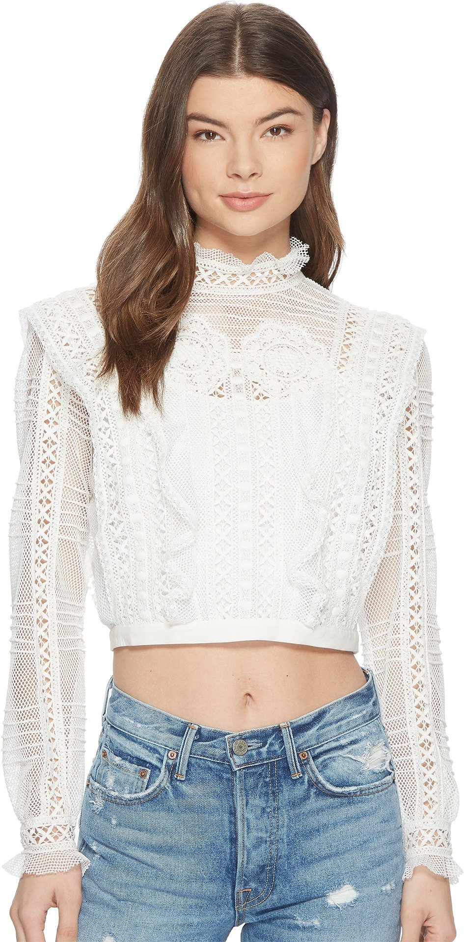 For Love and Lemons Women's Victorian Tulle Blouse Ivory Small