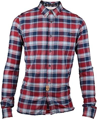 Cat aleación de Estilo para Hombre Cuadros Camiseta Cuadros Rojo Rojo Plaid Large: Amazon.es: Ropa y accesorios