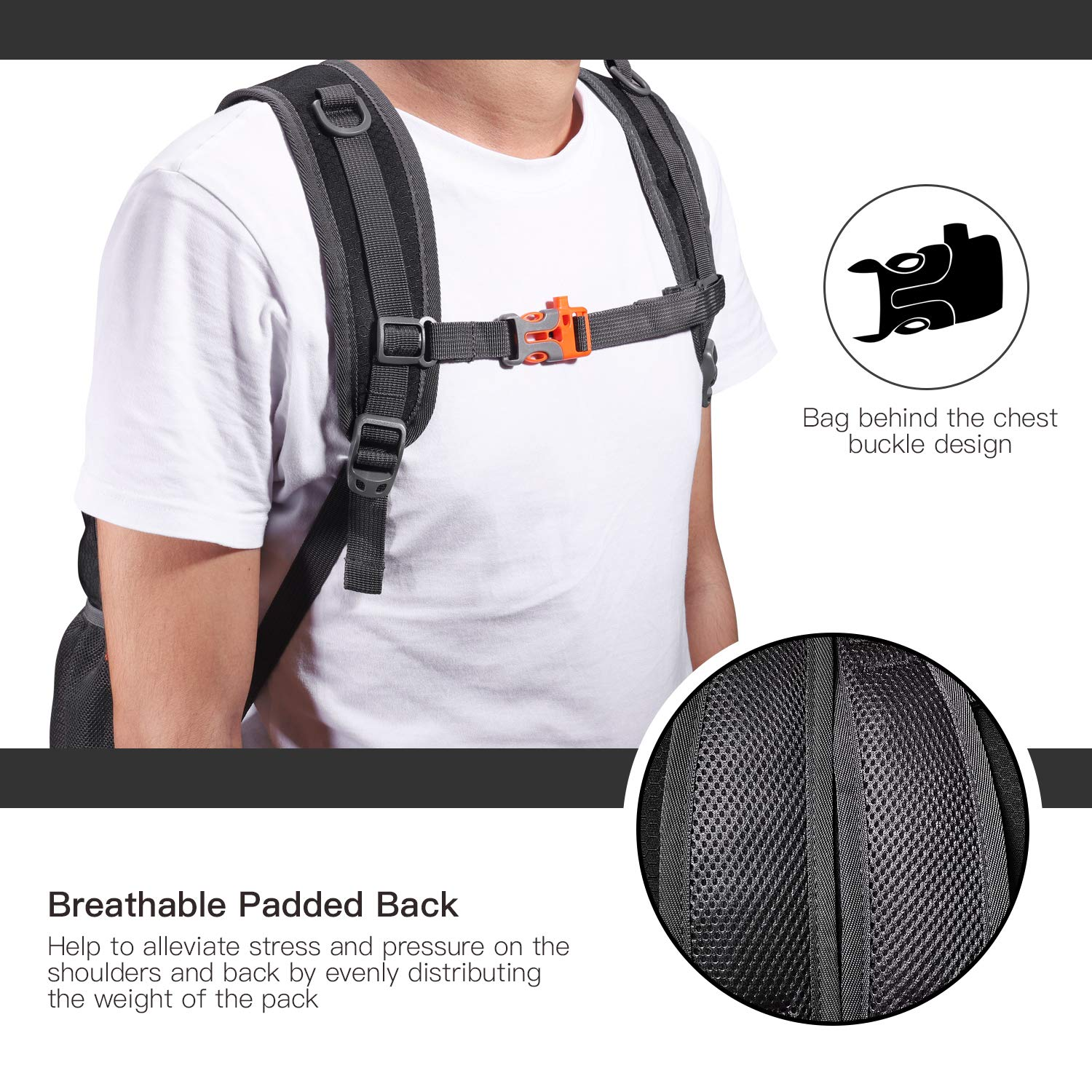 20L Packable Lightweight Backpack Hiking Daypack Foldable Ultralight Backpack Durable Water Resistant Travel Backpack RD01