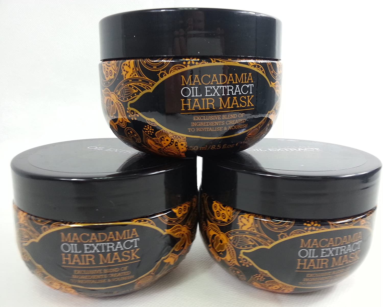 Oferta de 3 máscaras de cabello de 250ml cada una. Extracto de aceite de la marca Macadamia