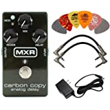 MXR M169 Carbon Copy Analog Delay Pedal BUNDLE with AC/DC Adapter Power Supply for 9 Volt DC 1000mA, 2 Metal-Ended…