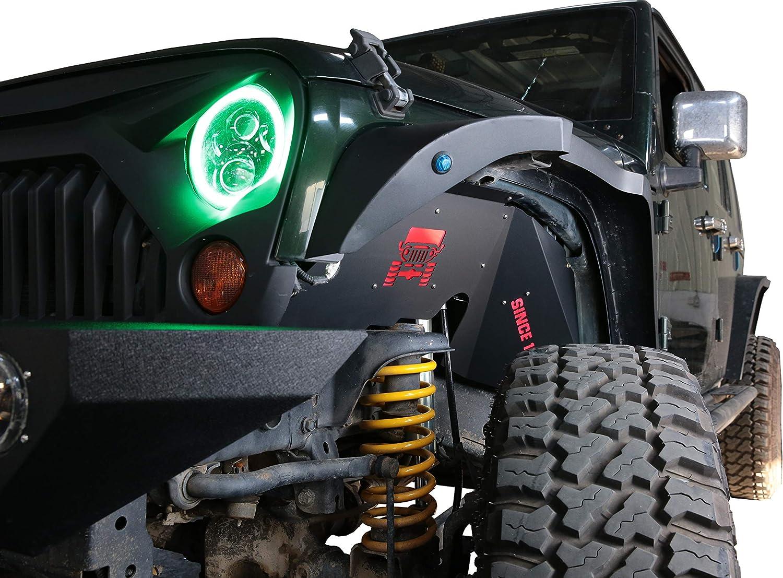 Right/&Left,Jeep Wrangler JROAD 1 Pair Rear Inner Fender Liners,with 2 LED Lights,Aluminum,07-18 Jeep Wrangler,JK JKU Sports Sahara Rubicon 2//4-Door