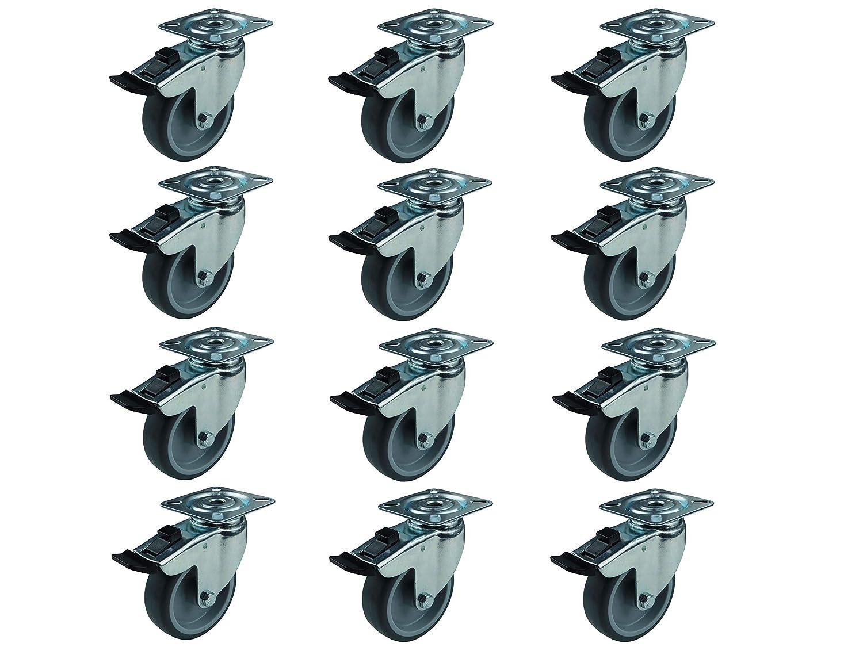 Set 12 Apparaterollen Lenkrollen mit Bremse Thermoplast 100 mm