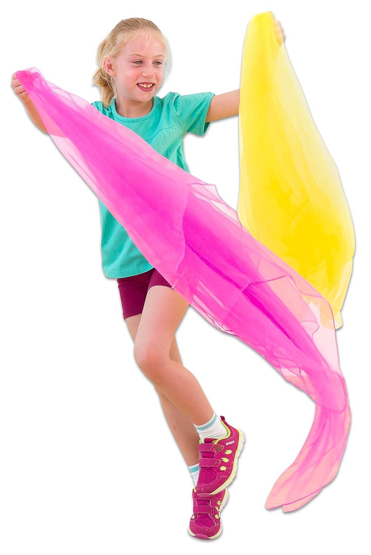 Große Spieltücher, 10 Stück im Set, Chiffon-Tücher, 140 cm x 140 cm - Jonlier-Tücher Jonglier-Tanz-Schal rhytmische Tänze und Bewegungsspiele 10 bunten Farben