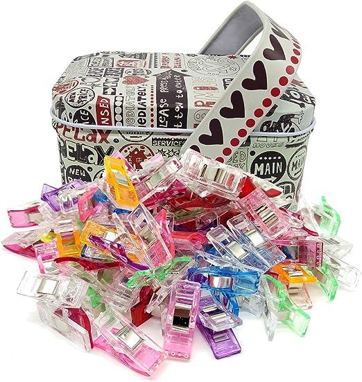 acolchados para acolchar y acolchar Paquete de 100 clips de costura Wonder Clips para coser para manualidades con caja de esta/ño