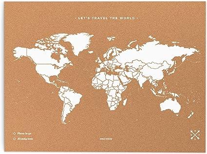 Cartina Mondo In Sughero.Miss Wood Map Xl Mappa Del Mondo Di Sughero 60 X 90 Cm Naturale Bianco Amazon It Casa E Cucina