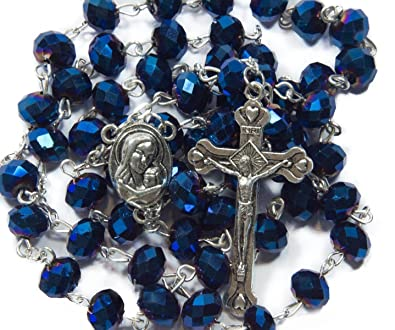 72191154e Image Unavailable. Image not available for. Color: Nazareth Store Deep Blue  Crystal Beads Rosary ...