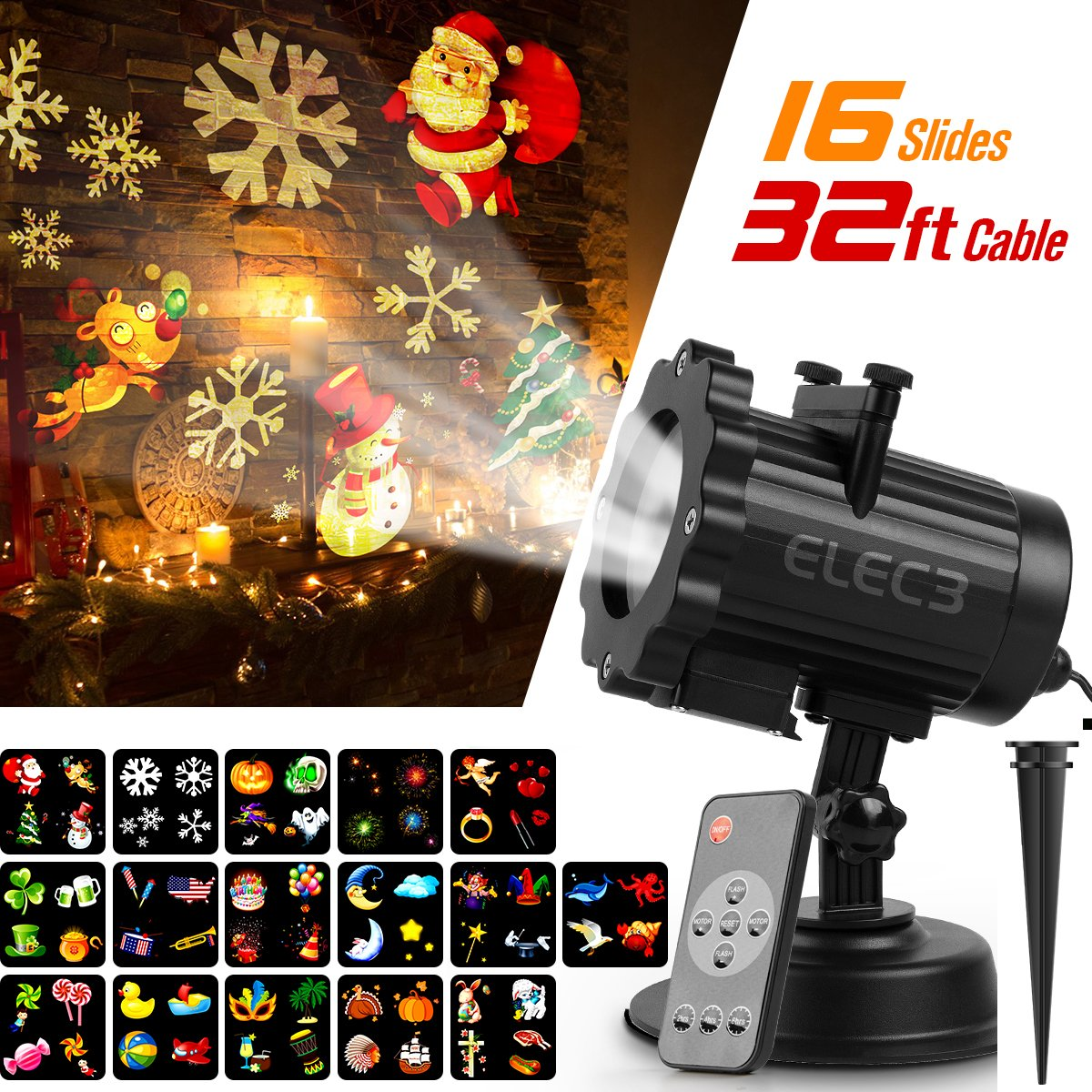 Elec3 Christmas Halloween Projector Light, 16 Slides Landscape Motion Projector Lights with Remote Control, 32ft Power Cable for Decoration Lighting on Halloween Holiday Party