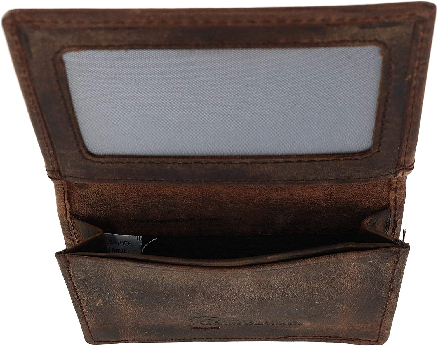 CTM Vintage Leather RFID Business Card and ID Holder