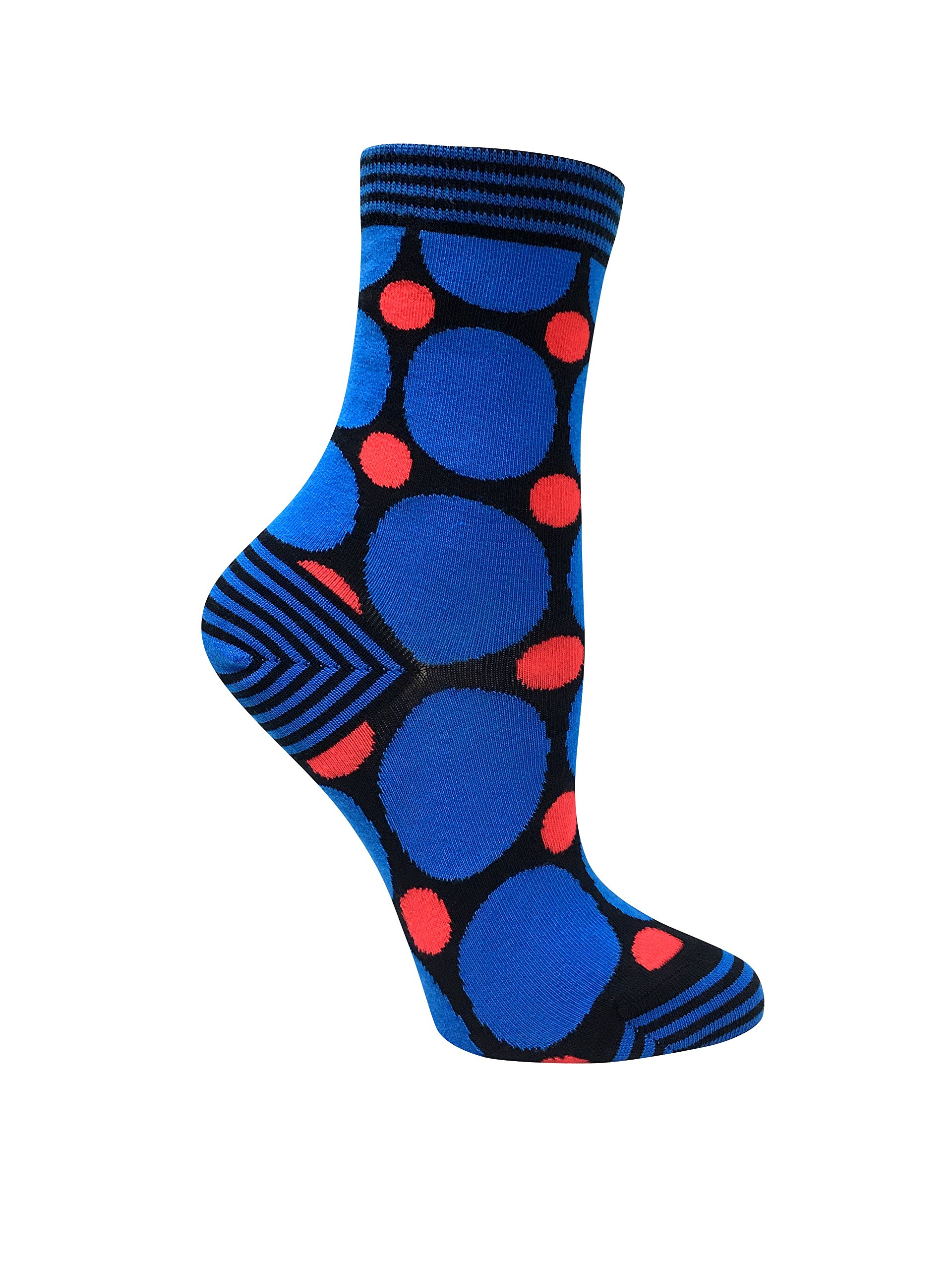 Premium organic cotton blue and red polka dots women's socks with seamless toes. (Blue)