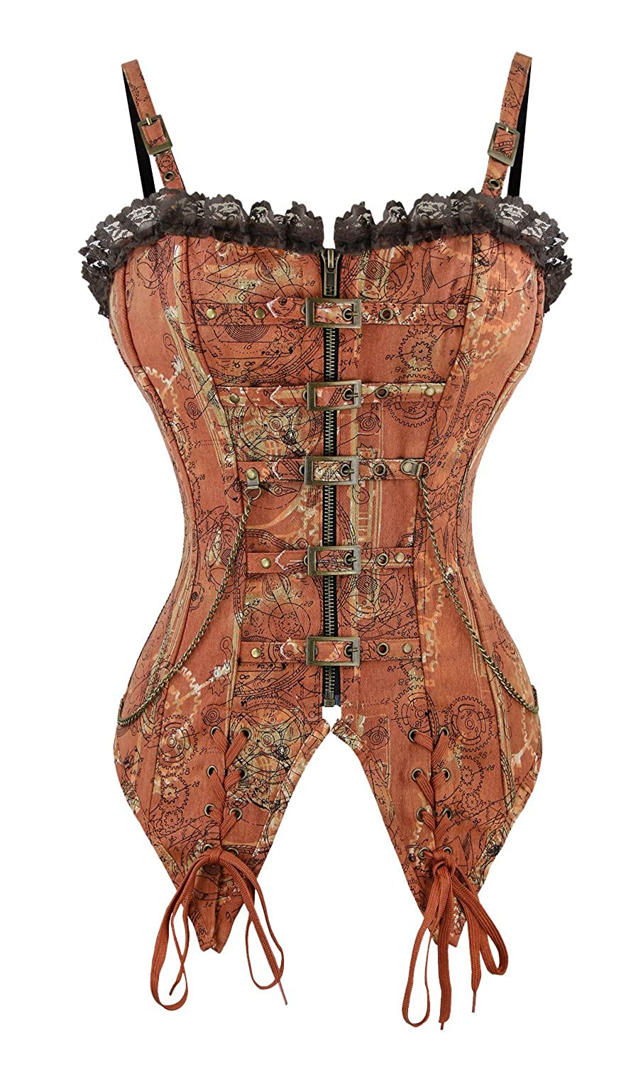 9e4252f2fa Killreal Women s Victorian Steampunk Steel Boned Overbust Corset Bustier  Top at Amazon Women s Clothing store