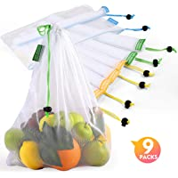 Reusable Produce Bags, Lavinrose Reusable Mesh Produce Bags with Drawstring & Tare Weight Tags, Durable Overlock…