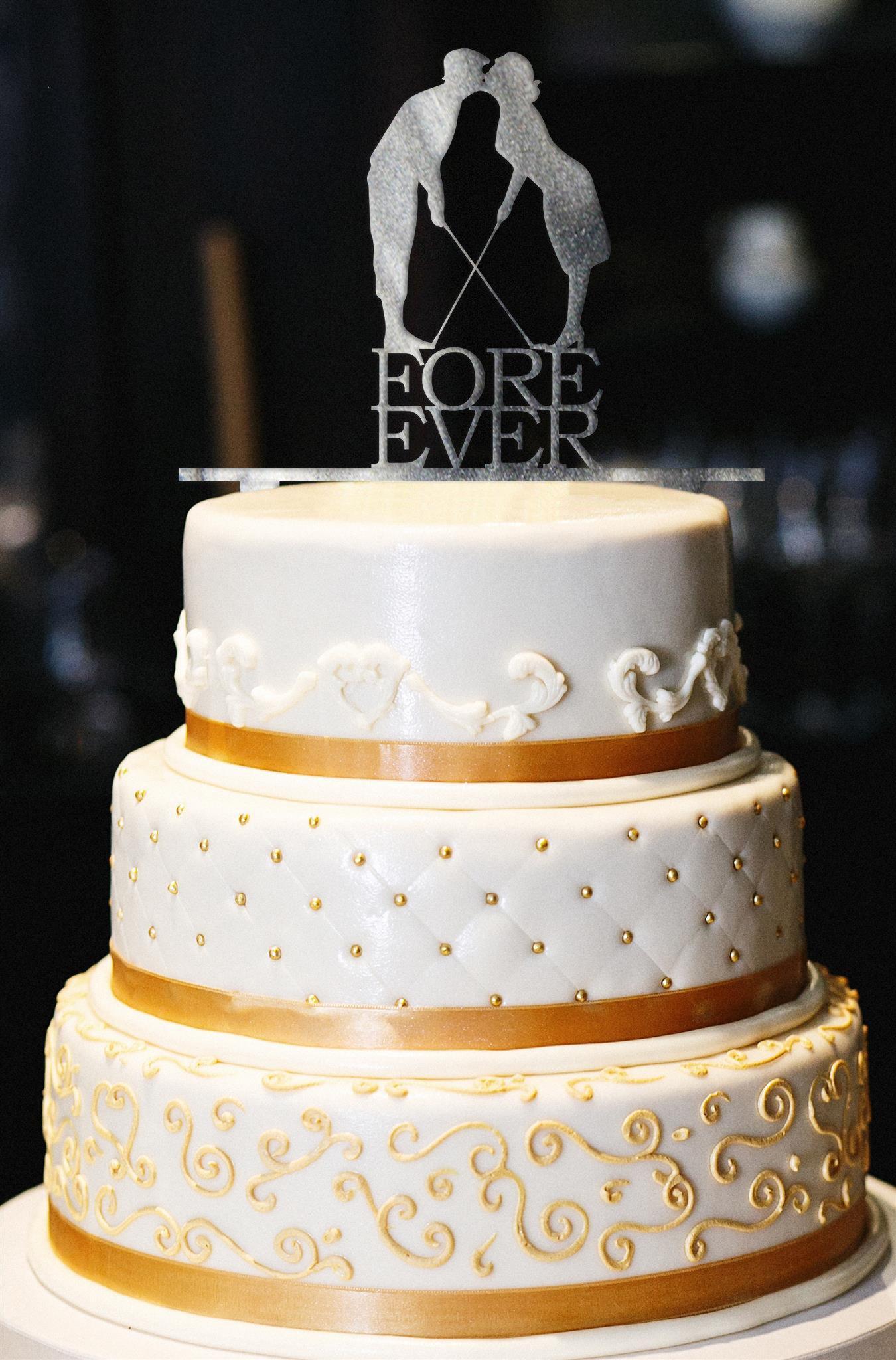 Fore Ever Golf Wedding Cake Topper, Glitter Wedding Cake Topper, Golf Cake Topper, Gold Glitter Wedding Cake Topper, Wedding Decor (13'', Pearl Smoke)