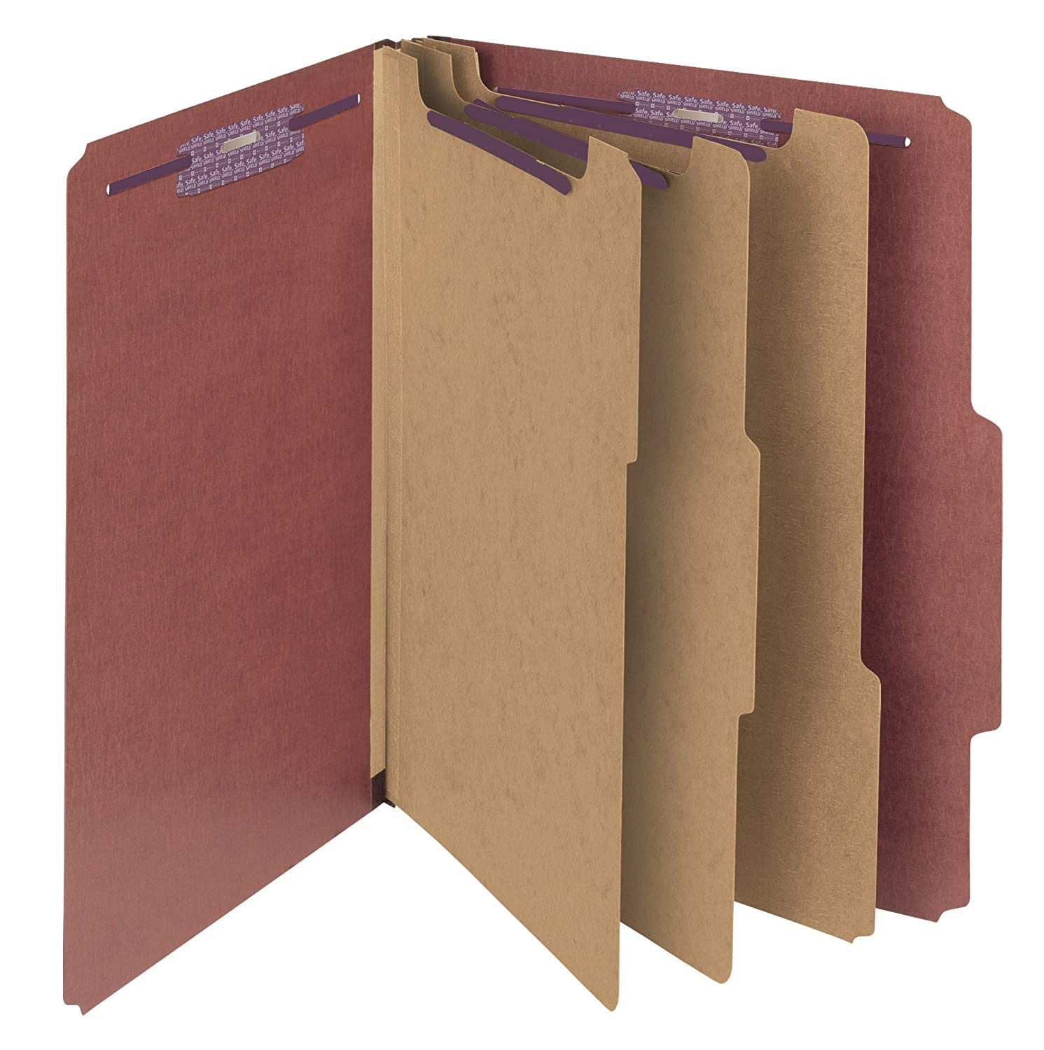 Smead Pressboard Classification Folders with Self Tab, 8-Section, Letter Size, Red, 10 Per Box (14092)