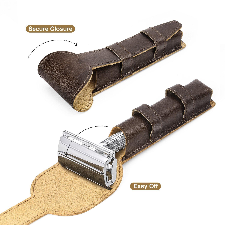 Marron Luxspire Coque de Protection pour Rasoir en Cuir V/éritable de S/écurit/é Housse de Poche de Rasage///Étui de Transport