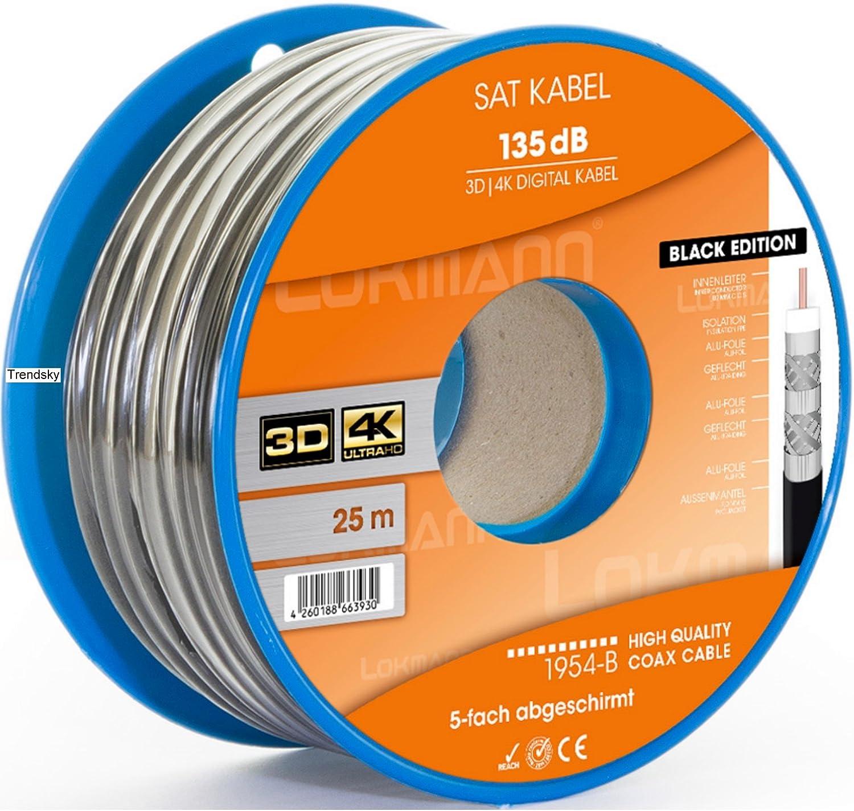 25 m Cable coaxial satélite 135 dB apantallado, 5 de cable ...