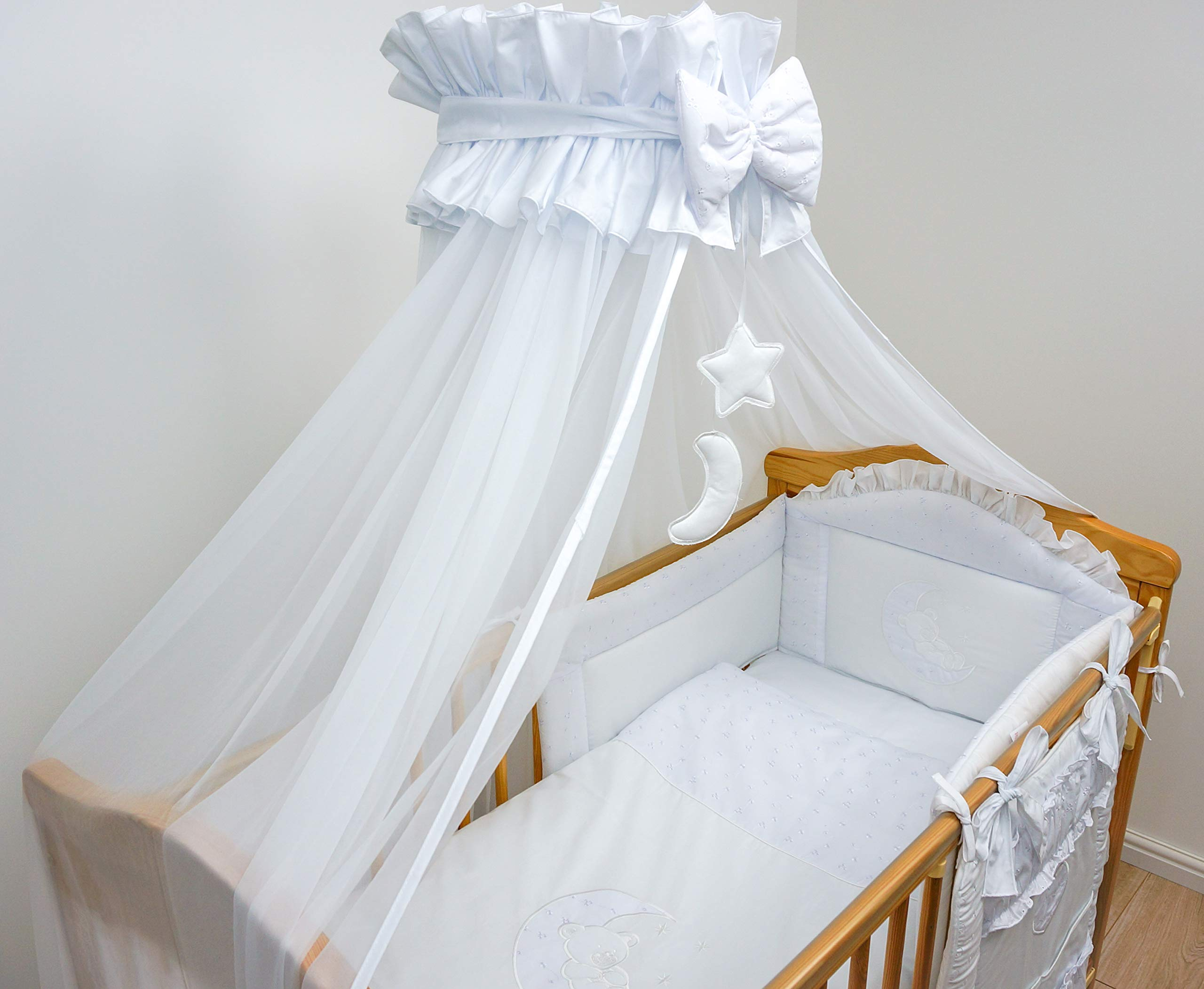 Broderie Anglaise Baby Cot Bed Crown Canopy/Mosquito Net 480 cm Only Moon - White
