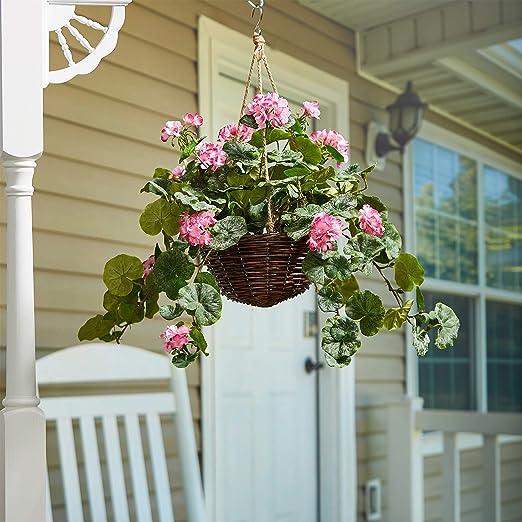 "Silk Flowers Fuschia Pink White Geraniums Greens Arrangement for 18/"" Window Box"