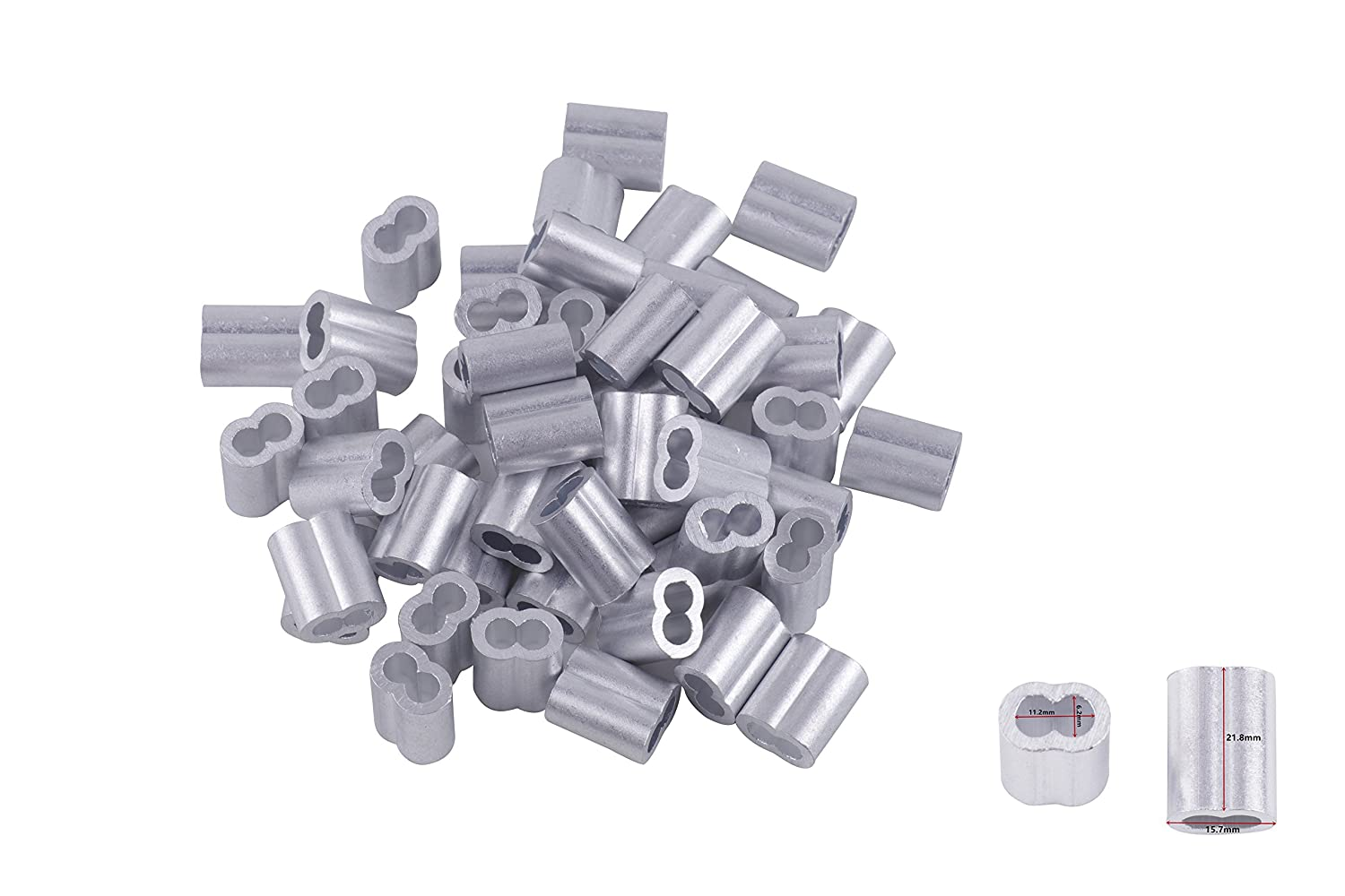 Eowpower 30pcs Aluminum Duplex Oval Crimping Loop Sleeves Cable Crimp for 1//4 Diameter Wire Rope