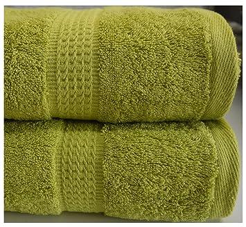 Verde - Lote de 2 toallas de baño, de esponja de Luxe 2 x toallas de baño (70 x 125 cm, algodón): Amazon.es: Hogar