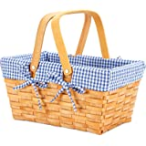 G GOOD GAIN Woodchip Picnic Basket with Double Folding Handles, Natural Hand Woven Basket, Woodchip Basket, Wicker Gift Baske