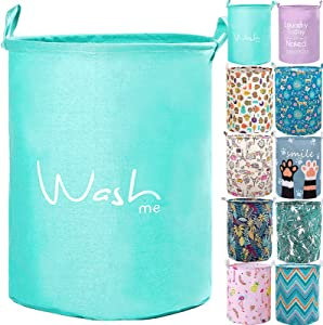 """YOMFUN 17.7"""" Kids Laundry Basket for Baby Boys, Waterproof Cotton Linen Laundry Hamper Bucket,Storage Basket for Kids, Toys, Pets, Dirty Clothes,Nursery(Green,M)"""