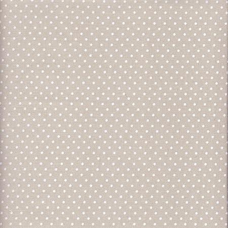 Tela beige-gris claro perlado y blanco - Lunares - 100% algodón ...