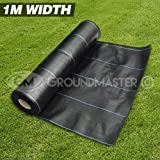 GroundMaster - Membrana de tela para control de malas hierbas, 1 m de ancho, muy resistente